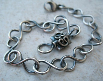 Sterling Silver Bracelet Handmade Link Chain Oxidized Sterling Silver Jewelry