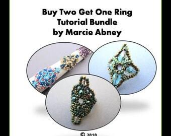 Buy 2 Get 1 FREE - Beadweaving Tutorial Bundle Beading Instructions Beaded Rings Handmade Lessons PDF Peyote Herringbone Tutorials