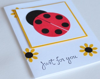 Ladybug Birthday Card or Thank You Card, Just for You Card for Girl, Ladybird, Daisy Card, Red Black Yellow and White
