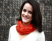 "Infinity Scarf - CHUNKY Orange Color - Approx. 28"" - with orange band - 28 strands, Back To School"