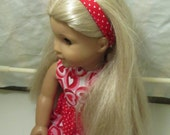 American Girl Doll Dress and Headband - Valentine's Day