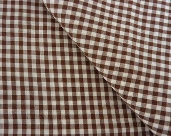 "Brown Check Gingham 1/8"" Check Vintage 1970's Fabric Yardage"