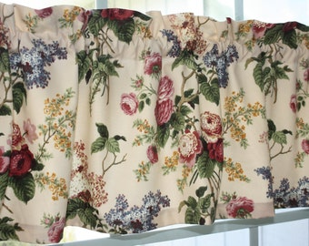 Valance  Waverly Floral  Emma's Garden Jewel in Pink, Red, Green on Off White