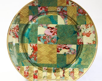 Asian Style Decoupaged Glass Plate: Mums and Fans
