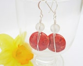Red Coral and Frosted Quartz Earrings, Wire Wrapped Earrings, Gemstone Earrings, Red and White Earrings, UK Seller