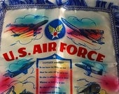 Vintage Travis Air Force Base Mom and Dad Silk Souvenir Pillowcase SALE