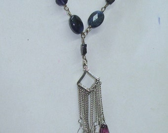 Vintage Sterling Silver Adjustable Artisan Necklace with Black & White Pearls, Iolite, Amethyst and  Glass Beaded Tassel Pendant
