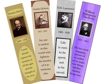 """Bookmarks, PDF, """"Great Male Authors of England"""", 4 printable digital designs"""