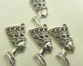 10 Antique Silver Egyptian Queen Nefertiti Pendants, Lead Free, Nickel Free, 39mm long, 19mm wide