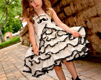 Girls Mustache and Lace Couture Ruffle Pageant Party Dress READY TO SHIP Size 6-12 M