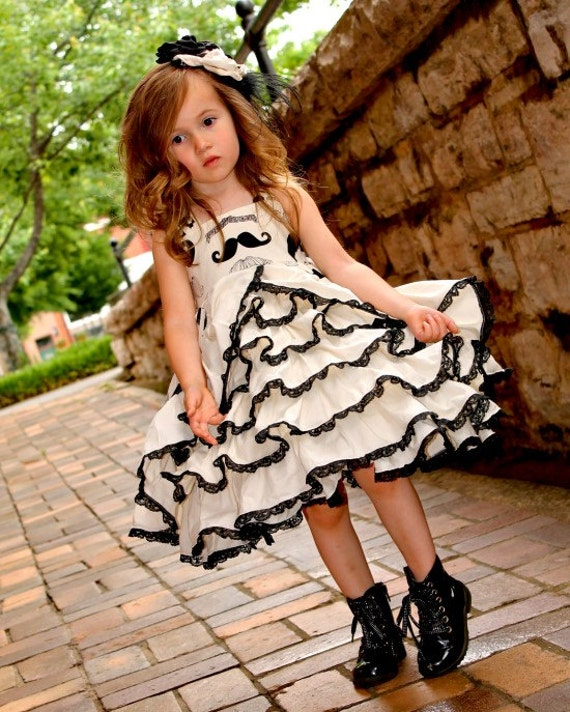 Girls Mustache and Lace Couture Ruffle Dress Sizes 6-12 M, 12-18 M, 18-24 M, 2, 3, 4, 5