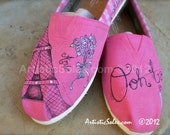 Paris Theme Custom TOMS Shoes II - ADULT - with flowers