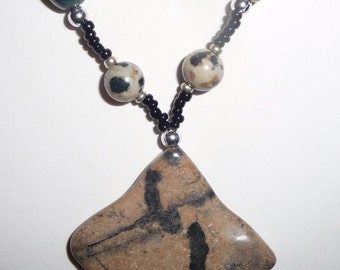 Brown Black Stone Necklace - Black Brown Beaded Necklace (sale/originally 19.99)