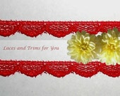 Red Lace Trim 15 Yards Delicate Scalloped 3/8 inch R145 Added Items Ship No Charge