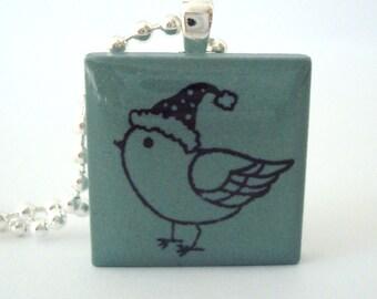 Winter Bird Necklace Rubber Stamped Porcelain Tile Pendant Blue