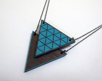 Geometric Locket, Wood, Solid Triangle Top, Laser Cut