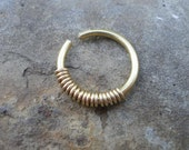 "16g Brass ""Coil"" Hoop -- Nosering, septum ring, earring"