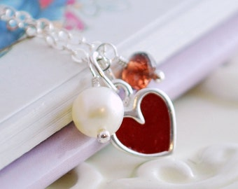 Child's Valentines Necklace, Custom Birthstone Jewelry for Girls, Red Heart Necklace, Sterling Silver, Freshwater Pearl, Real Gemstone