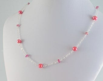 Flower Girl Necklace, Coral Freshwater Pearl, Genuine Pink Sapphire Gemstone, Sterling Silver Wedding Jewelry for Children