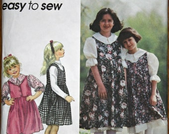 Simplicity 9237 Girl's Jumper Skirt and Blouse Sewing Pattern Easy to Sew