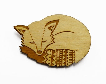 Woodland fox brooch ~ laser cut jewellery