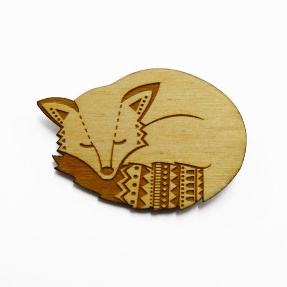 Woodland fox brooch ~ laser cut jewellery