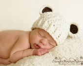 Baby Boy Hat, 0 to 3 Months Baby Boy Hat, Baby Boy Teddy Bear Hat, Cream with Chocolate Brown Ears. Newborn Photo Props. Baby Gift.