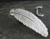Feather Necklace, Feather Charm, Silver Necklace, Silver Wild Feather Charm Necklace, Woodland Jewelry, Silver Chain, Gift FOR HER