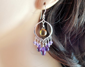 Chandelier Earrings, Sterling Silver, Purple Amethyst, Caramel Beer Quartz, Genuine AAA Gemstones, Free Shipping