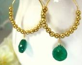 Green onyx gold hoop dangle french hook earrings