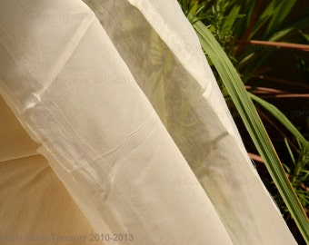 Silk cotton fabric. Handwoven gossamer thin,sheer and undyed. 44 inches wide. Silk Blend Fabric.