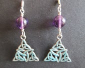 Celtic triquetra knot sterling silver amethyst earrings- February birthstone