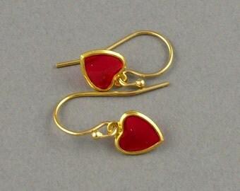 Classic Valentine gold dangle earrings