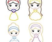 Princess Appliques Set - Snow White Cinderella Belle Rapunzel  Machine Embroidery Design 4x4 5x7 6x10 INSTANT DOWNLOAD