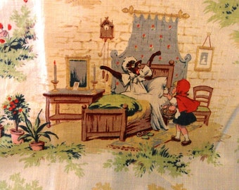 Old French fabric Little RED RIDING HOOD