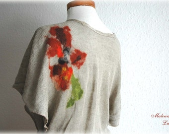 Sleeveless Wrap Tunic Linen Knitted Grey With Felt  Appliques Natural Eco Friendly Universal Size