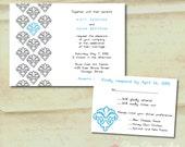 Wedding Invitation - Fleur de Lis Damask - Invitation and RSVP Card with Envelopes