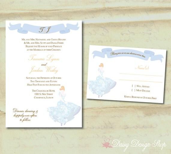Wedding Invitation Princess Cinderella By DaisyDesignShop