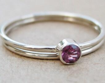 14k Gold Gemstone Wedding Ring Set Yellow White or Rose Gold 25 Stones to Choose From