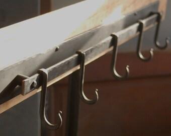 5 Hook Pot Rack, Iron Pot Rack, Metal Pot Rack, or Coat Rack Made by a Blacksmith