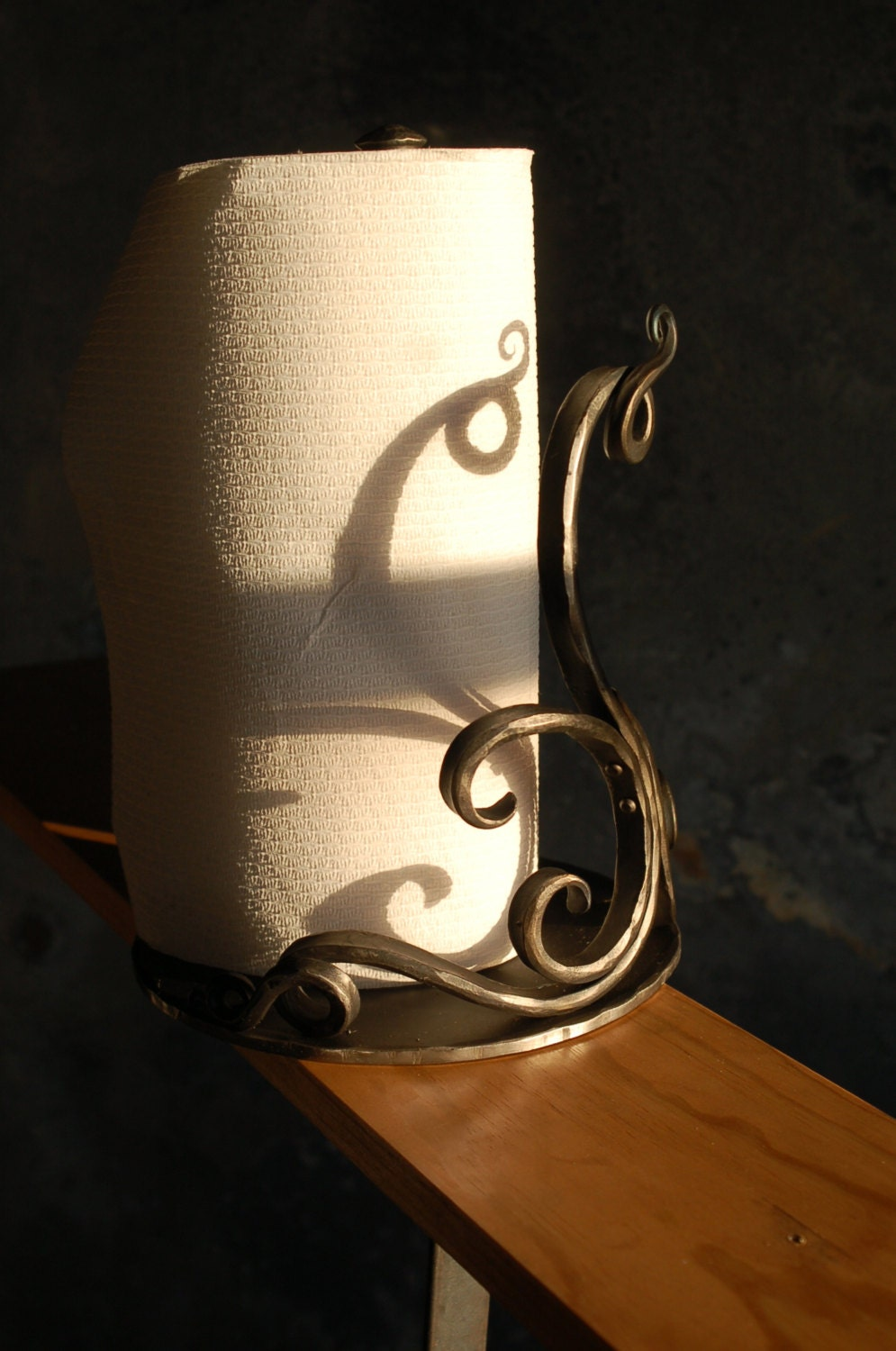 Ornate Paper Towel Holder Hand Forged By A Blacksmith