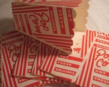 5 Vintage Popcorn Carnival Movie Theater Boxs Craft Supplies Containers