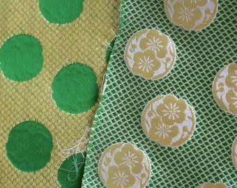 2 Takashimaya Department Store Fabric Pieces, 19 by 14 Inches, Medallions and Gilded Thread
