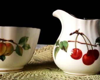 Vintage CREAM & SUGAR, Royal Worcester ARDEN Pattern Dated 1974, Fine English Bone China, Gorgeous Fruit Design - Sale!
