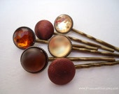 Cabochon hair clips - Rustic vintage brown embellish hair accessories TREASURY ITEM