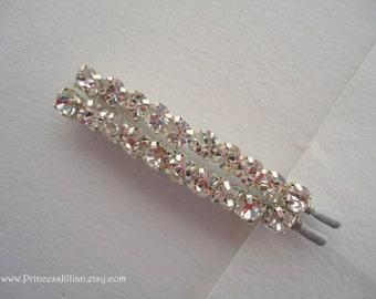 Bridal Prom Rhinestones bobby pins - Sparkly clear diamond look rhinestones minimalist simple decorative embellish jeweled TREASURY ITEM