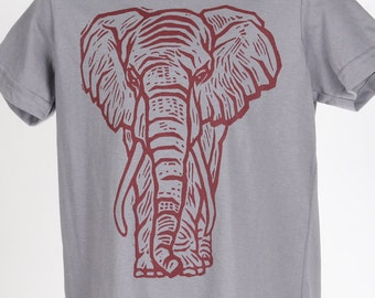 Ready To Ship!!!! Elephant on Slate American Apparel T Shirt 2t, 4t, 6t, 8y, 10y, 12y