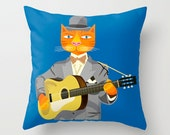 "Reserved order for meandmarlee - Tibbles Plays Acoustic - Throw Pillow Cover (18"" x 18"") iOTA iLLUSTRATION"