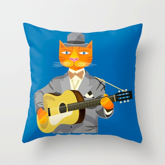 "Tibbles Plays Acoustic - Throw Pillow / Cushion Cover (16"" x 16"") iOTA iLLUSTRATION"