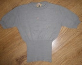 Cute Vintage Jumper with Musical Notes in Grey & Soft Pink Made in France